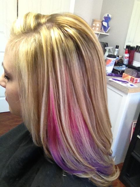 Pink And Purple Peek A Boo With Blonde Highlights Hair
