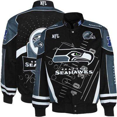 Seattle Seahawks Navy Blue-College Navy Scoreboard Full Button Twill Jacket