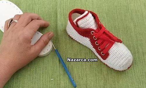 Erkek Örgü Spor Ayakkabı Yapılışı Anlatımlı Videolu