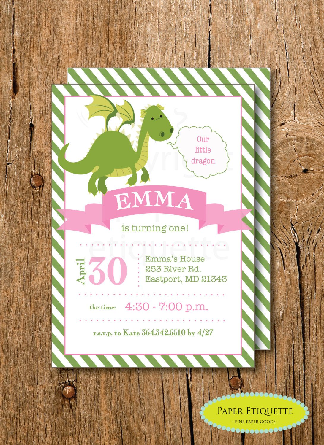 Dragon Girl Birthday Invitation -Print Your Own Invite Dragon Baby ...