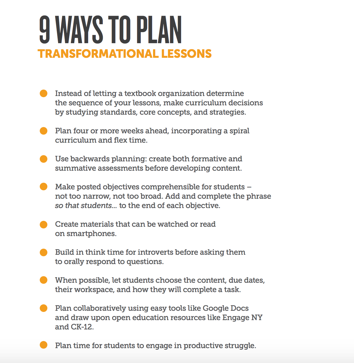 9 Ways To Plan Transformational Lessons Planning The Best Curriculum Unit Ever