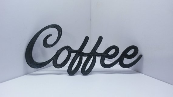 Coffee Cursive Script Word Art Wall Hanging Sign Plaque Kitchen Home
