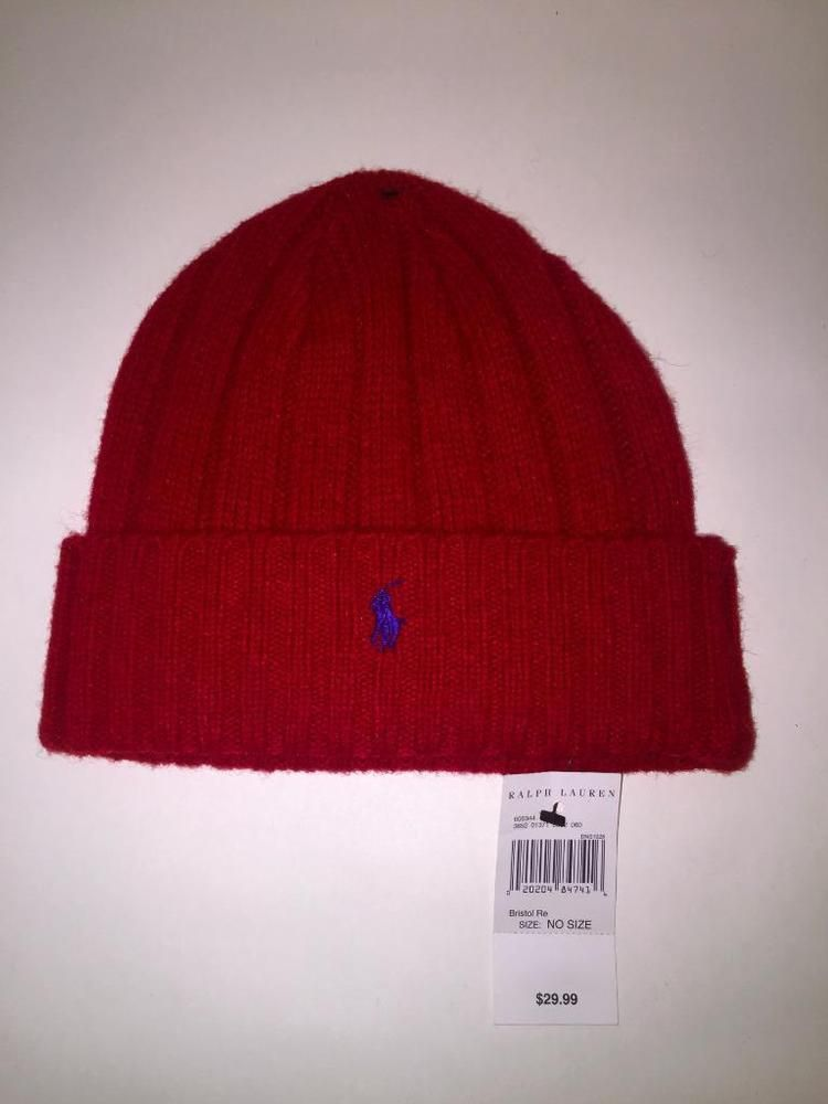 Polo Ralph Lauren Men s Beanie Skull Cap Wool Hat Ski Wool ~RED~NEW W  TAGS   PoloRalphLauren  Beanie 849326f138e5