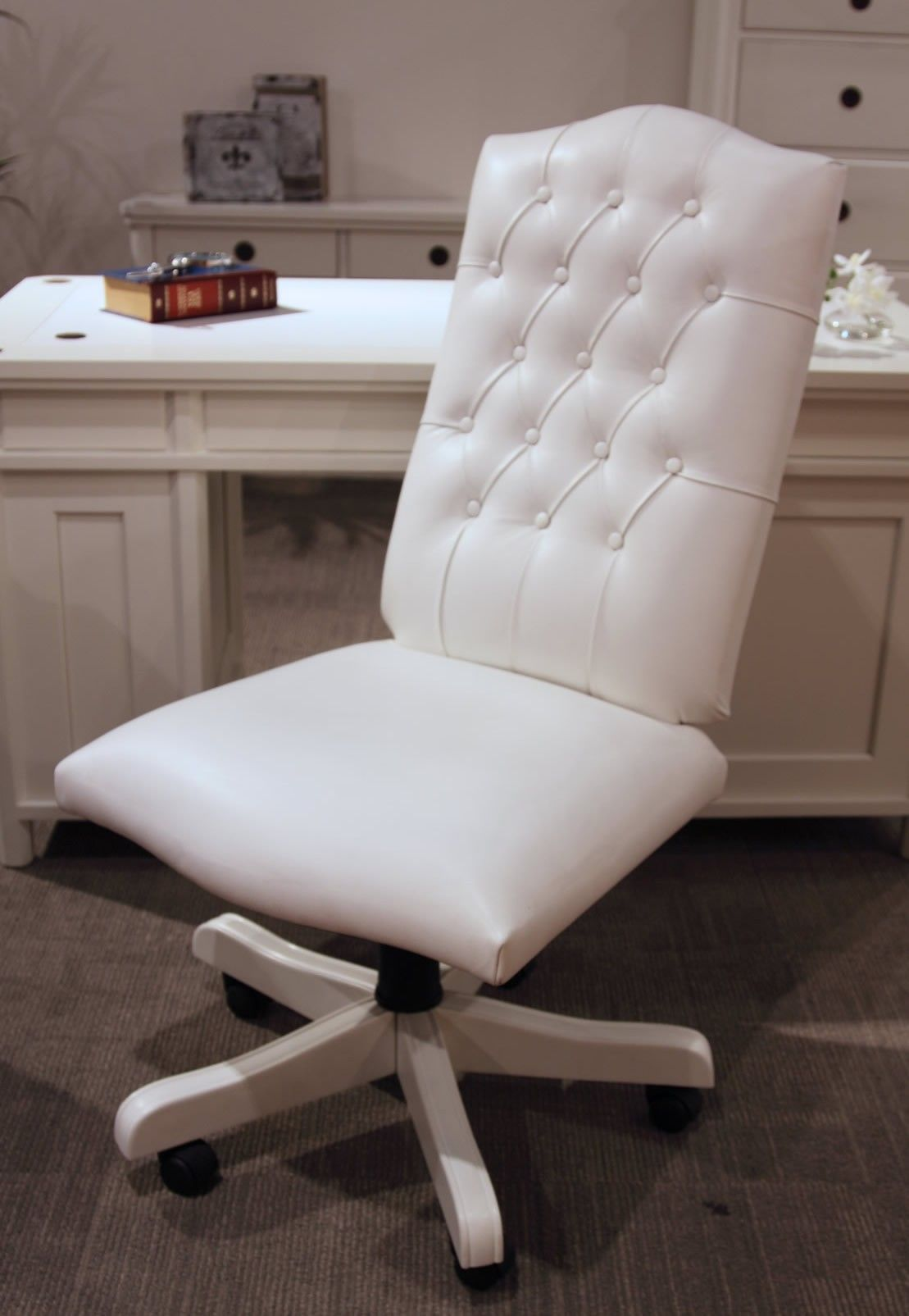 Good Ergonomic White Desk Chair: White Desk Chair Hudson Leather ~ Design  Inspiration