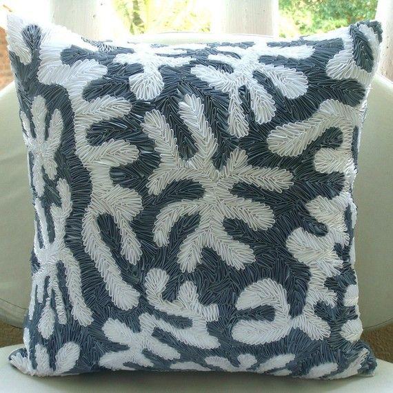 16 X16 Decorative Gray Pillow For Sofa Art Silk Sofa Cushion Cover Coral Toss Pillows Sea Creatures Beach Style Home Decor Coral White White Throw Pillows Throw Pillows Pillows