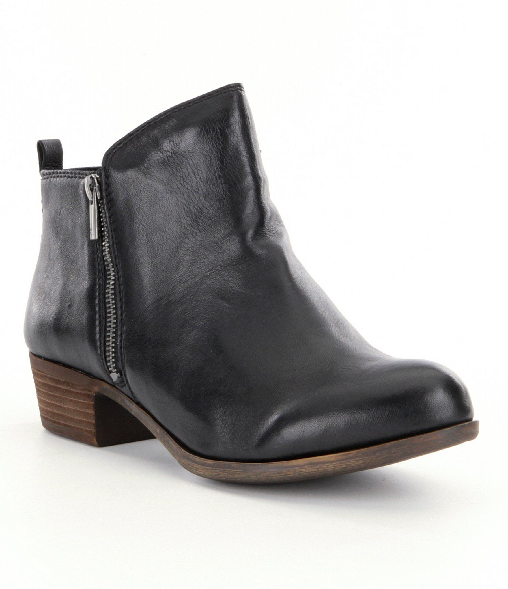 Leather · Shop for Lucky Brand Basel Smooth Leather Zip Stacked Heel Booties  ...