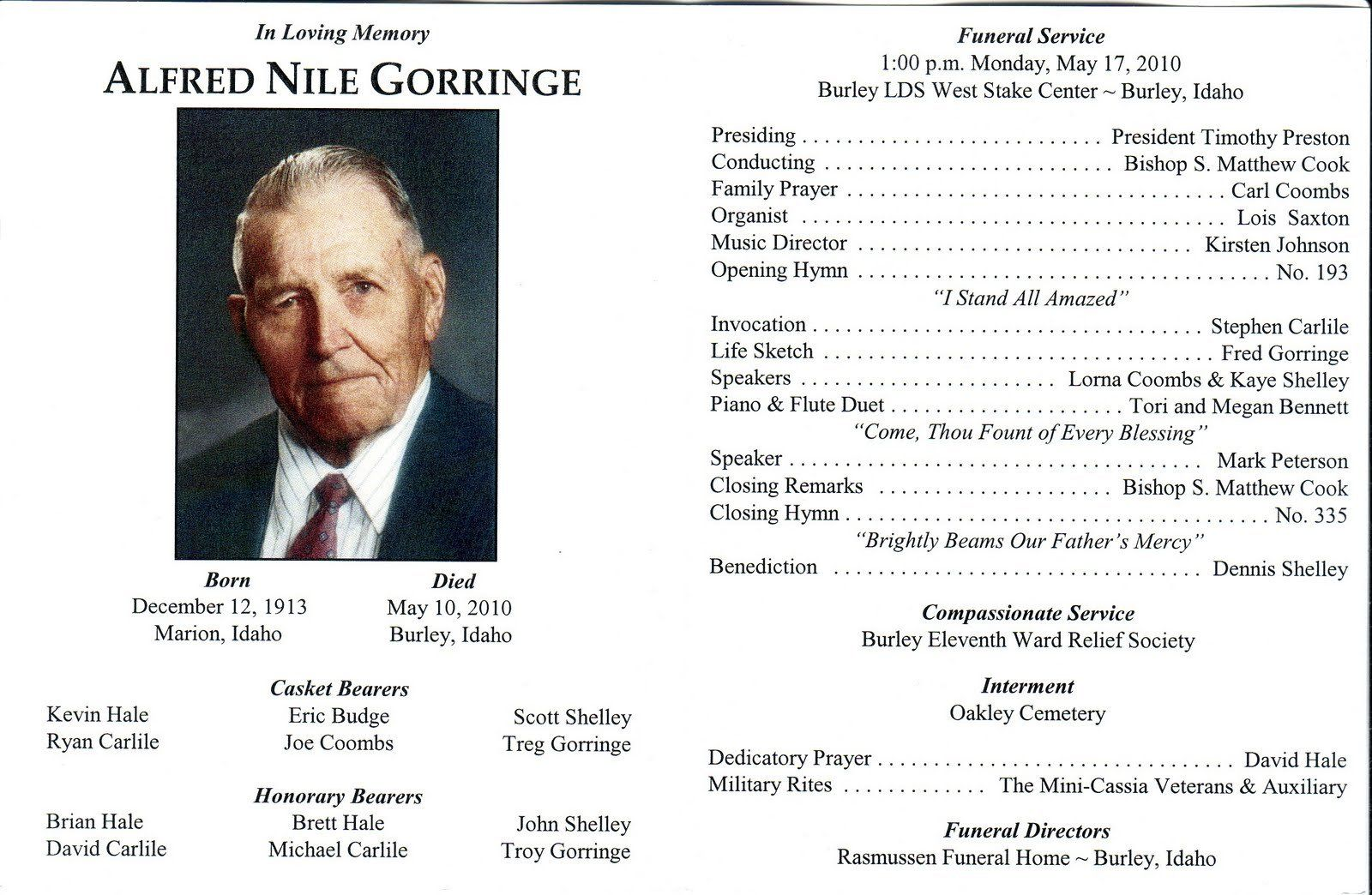 Memorial Service Programs Sample  Lds Burial And Mormon Funeral