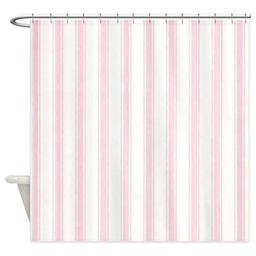 HANHAOKI Shower Curtain with Shabby Pink White Stripes wa  https HANHAOKI Shower Curtain with Shabby Pink White Stripes wa  https  . Pink And White Striped Shower Curtain. Home Design Ideas