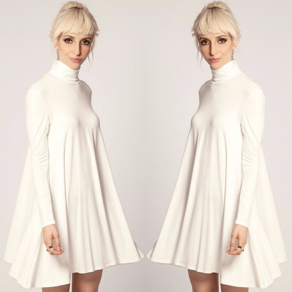 1edbea1f4d80 Turtleneck Swing Dress Long Sleeve Casual Ladies Dress or Tunic OFF WHITE S  M L…