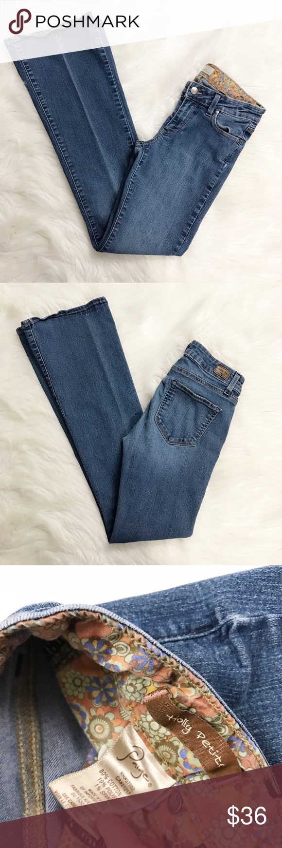 """Paige Holly Petite Jeans These jeans are very flattering and in excellent condition! These are the Holly Petite by Paige Jeans and in Medium wash! These are stretchy, no signs of fraying to material, light fade from creasing. Size 27,  inseam - 32"""", rise - 8"""". Paige Jeans Pants Boot Cut & Flare"""