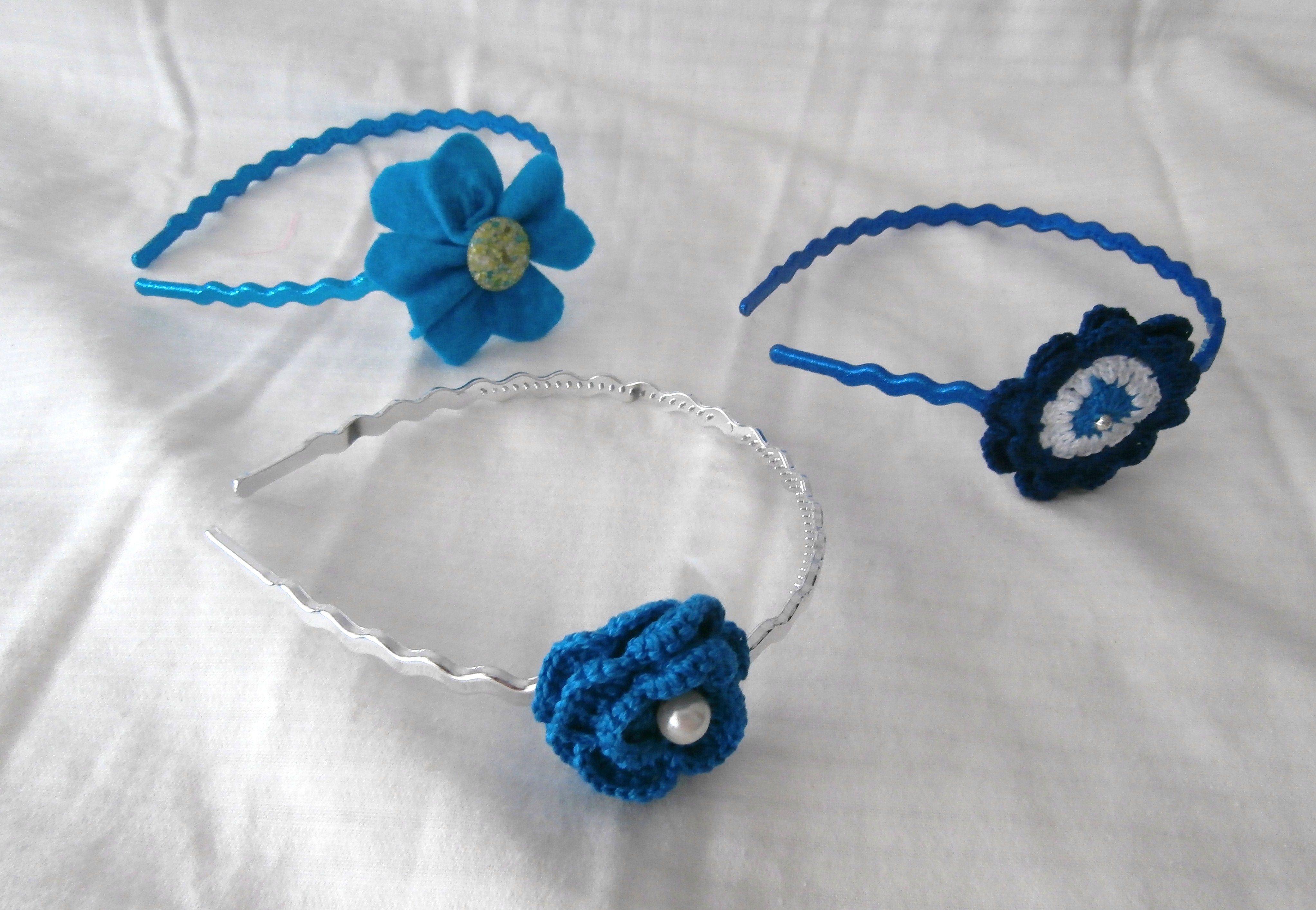diademas adornadas con flores de crochet y fieltro | fuxico flowers ...