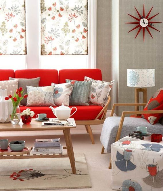 14 salas decoradas con sof s color rojo sof rojo y color for Sofas grises decoracion