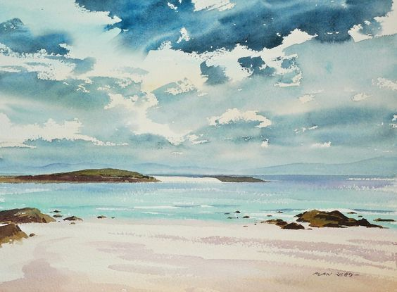 Iona Watercolour Painting In 2020 Watercolor Sky Watercolor Sea