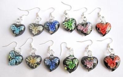 Mixed Lots 64508: Wholesale 50Pairs Heart Shape Lampwork Glass Inside Flower Earrings Jewelry -> BUY IT NOW ONLY: $34.19 on eBay!