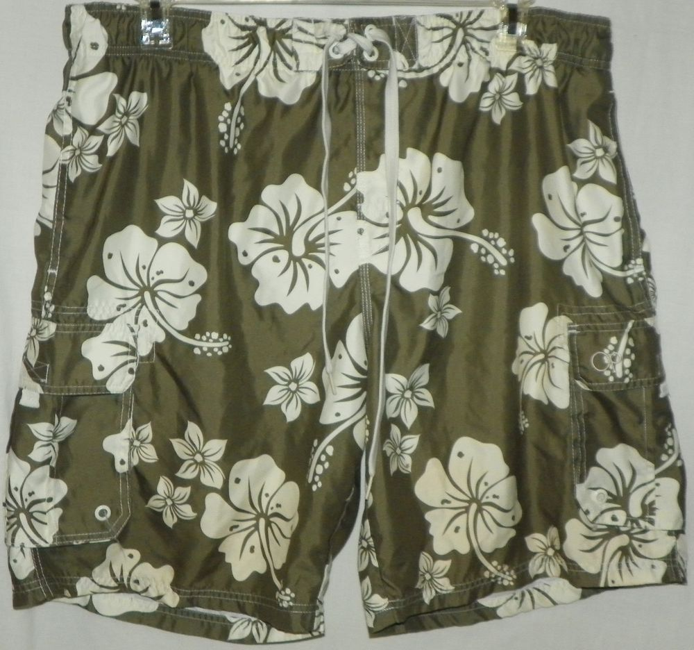 9104ea693a OP Ocean Pacific Mens Swim Trunks Board Shorts Sz XL 40-42 Olive Green  Hibiscus #OceanPacific #BoardShorts