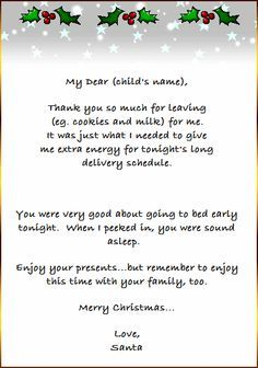 Free Printable Christmas Project  Thank You Card From Santa