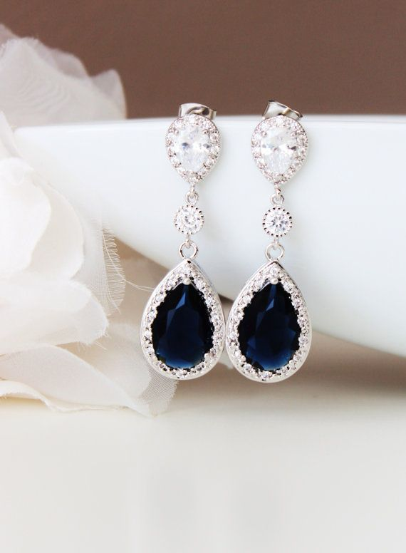 Shire Blue Wedding Jewelry Bridal Earrings Royal Long Something September