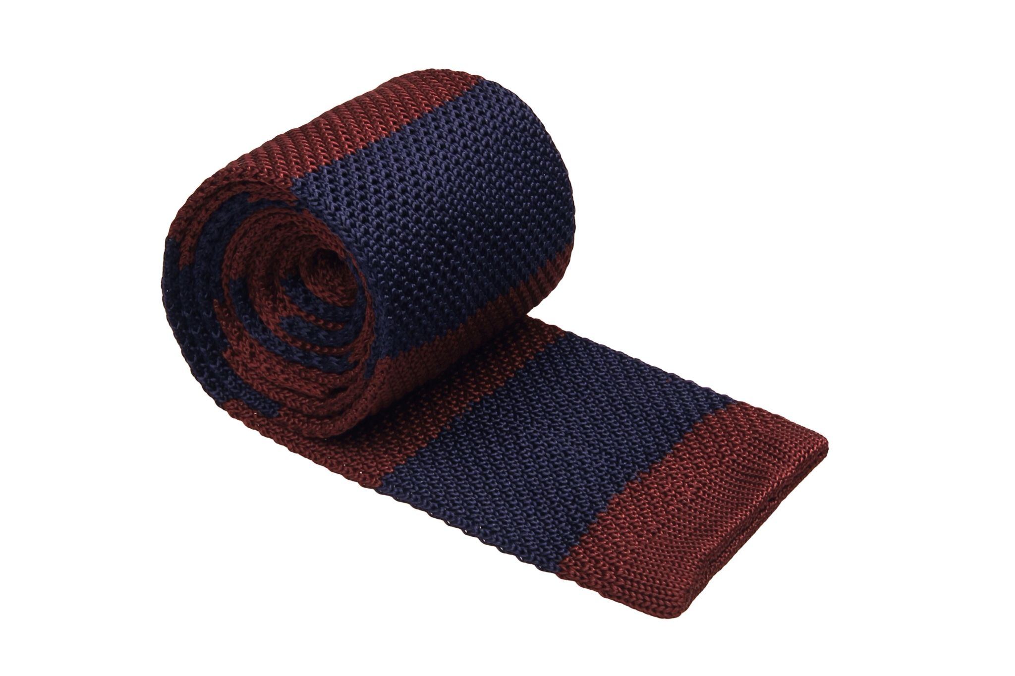 Slim necktie - Alternately navy and burgundy moss knitted silk - Notch FALCO Notch p2bmaY