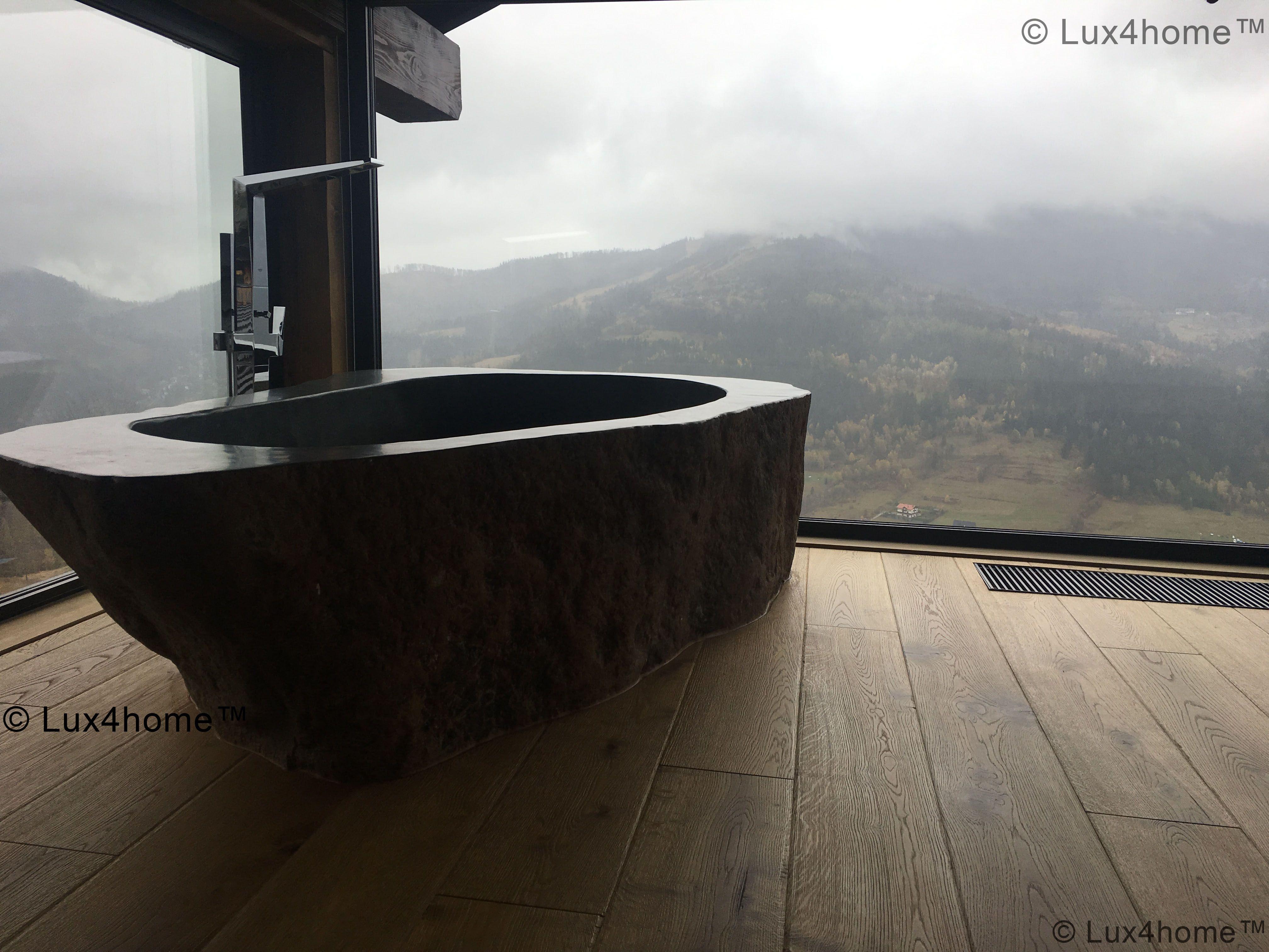 Natural River Stone Bathtub - Bathroom Ideas. Soaking stone bathtub ...