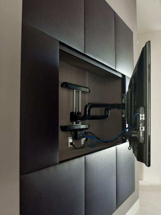 Flat Tv Sunk Into Black Wall Clean Organized Easy