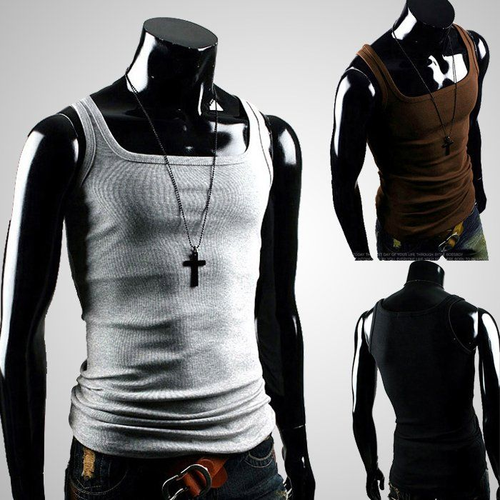 2012 Mens Fashion vest Basic sports slim male vest square collar tight vest 5887 p10