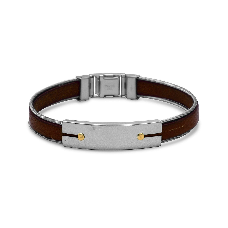 Fine Jewelry Mens Brown Leather Stainless Steel Bracelet hTW67