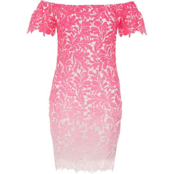 Quiz Quiz Pink Crochet Bardot Bodycon Dress ($48) ❤ liked on ...
