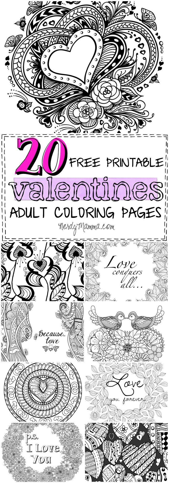 20 Free Printable Valentines Adult Coloring Pages | The ...