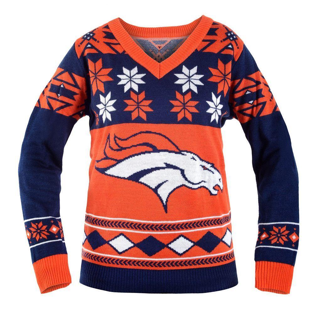 detailed look d509a b8a5a Denver Broncos NFL Women's Big Logo V-Neck Ugly Christmas ...