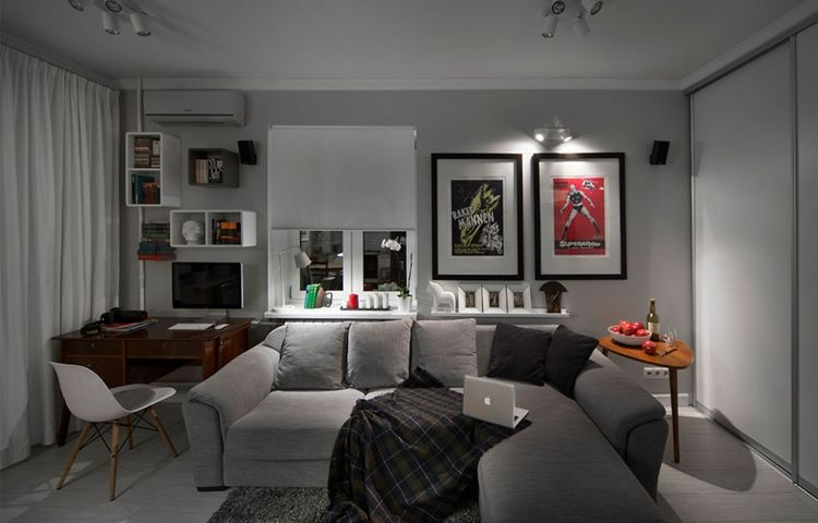 Wohnzimmer in Grau -eckcouch-posters-modern-jugndlich-schreibtisch - wohnzimmer deko wand