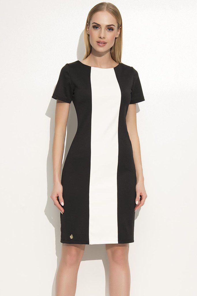 Beatiful black and white color block dress, the perfect office wear. $49.99