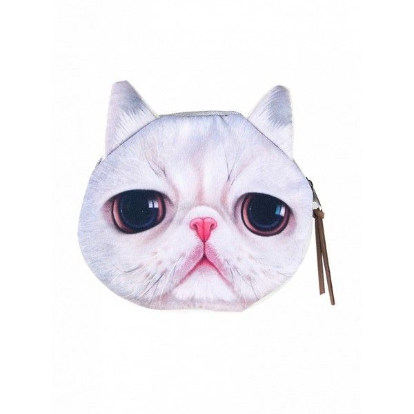 Choies White Big Eyes Cat Coin Purse ($4.90) ❤ liked on Polyvore featuring bags, wallets, white, white wallet, cat bag, coin purse, change purse and cat wallet