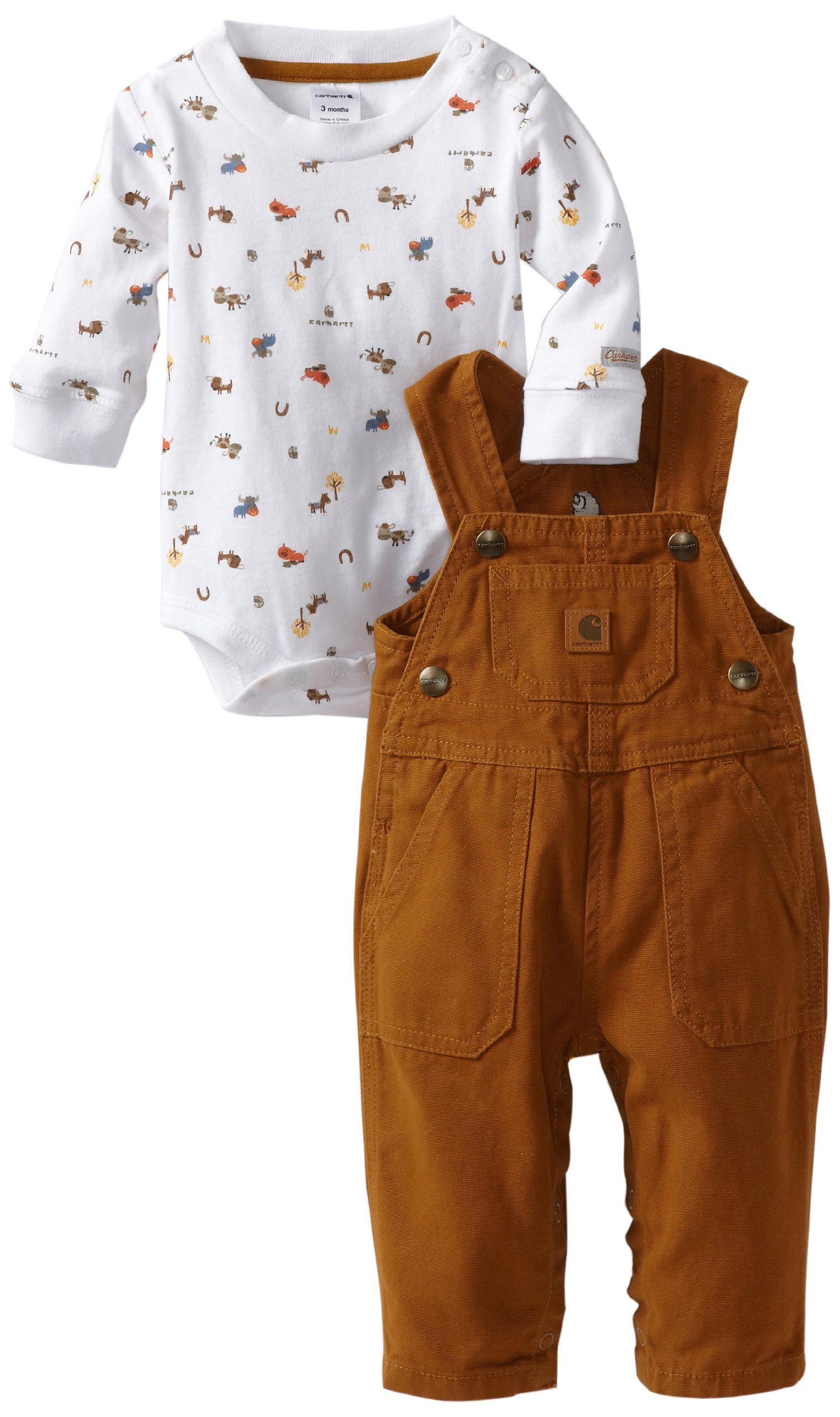 12d473b791c Amazon.com: Carhartt Baby-boys Infant Bib Adjustable Strap Overall Set, Carhartt  Brown, 6 Months: Infant And Toddler Clothing Sets: Clothing