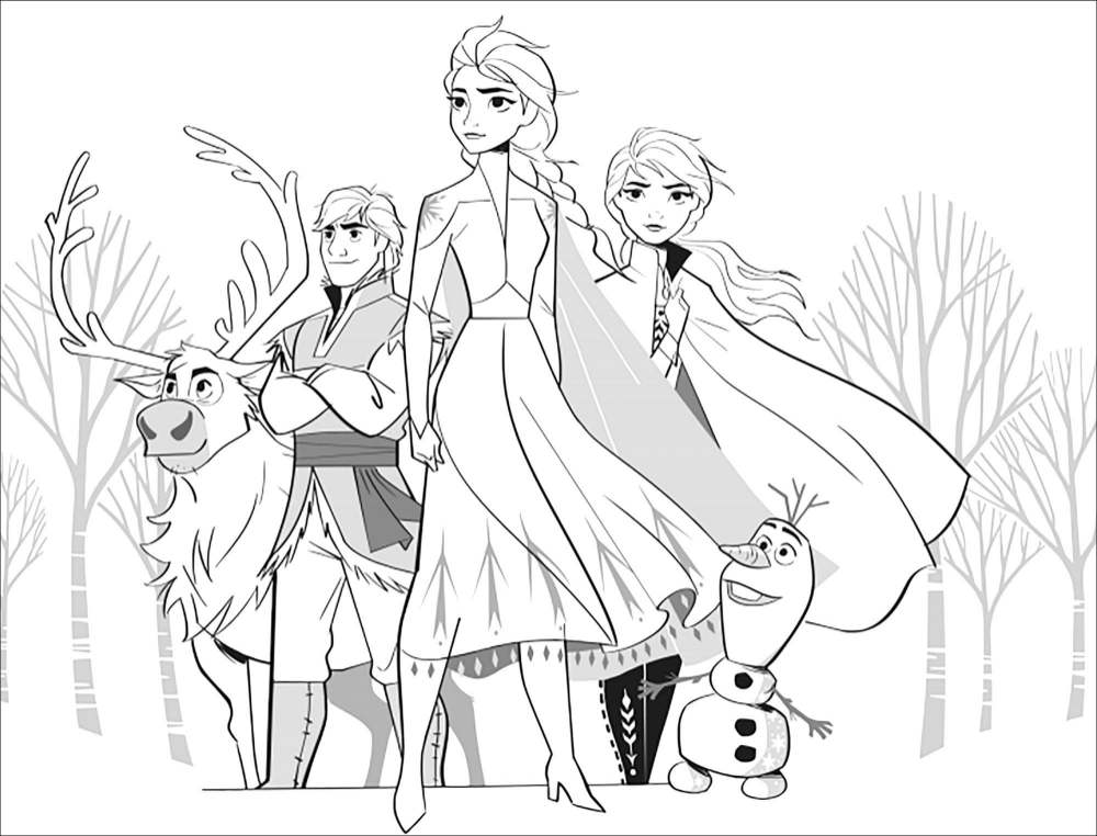 Beautiful Frozen 2 Coloring Page With Elsa Anna Olaf Sven Kristoff In 2020 Coloring Pages Coloring Pages For Kids Colouring Printables
