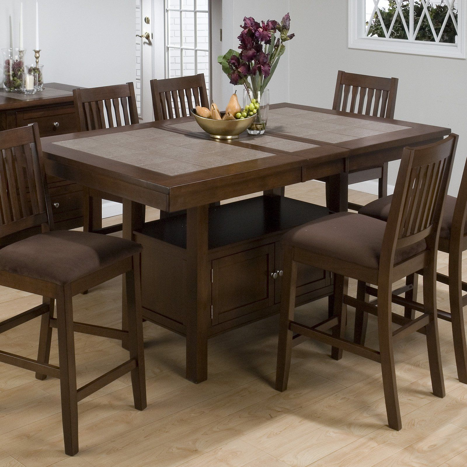 Jofran Trumbull Tile Top Counter Height Storage Dining Table