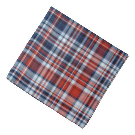 This bandana is decorated with a Red White and Blue Tartan pattern  #bandanas #redwhiteandblue #tartan #plaid #facemask #zazzlemade
