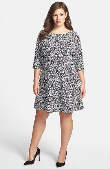 Taylor Dresses jacquard Knit Fit & Flare Dress (Plus Size) available ...