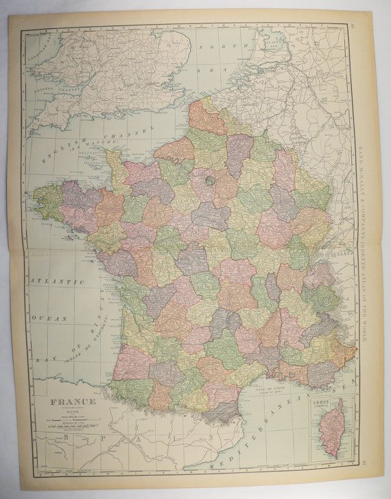 Vintage France Map Large 1899 Unique Gift Idea For The Home Decor Antique Wall