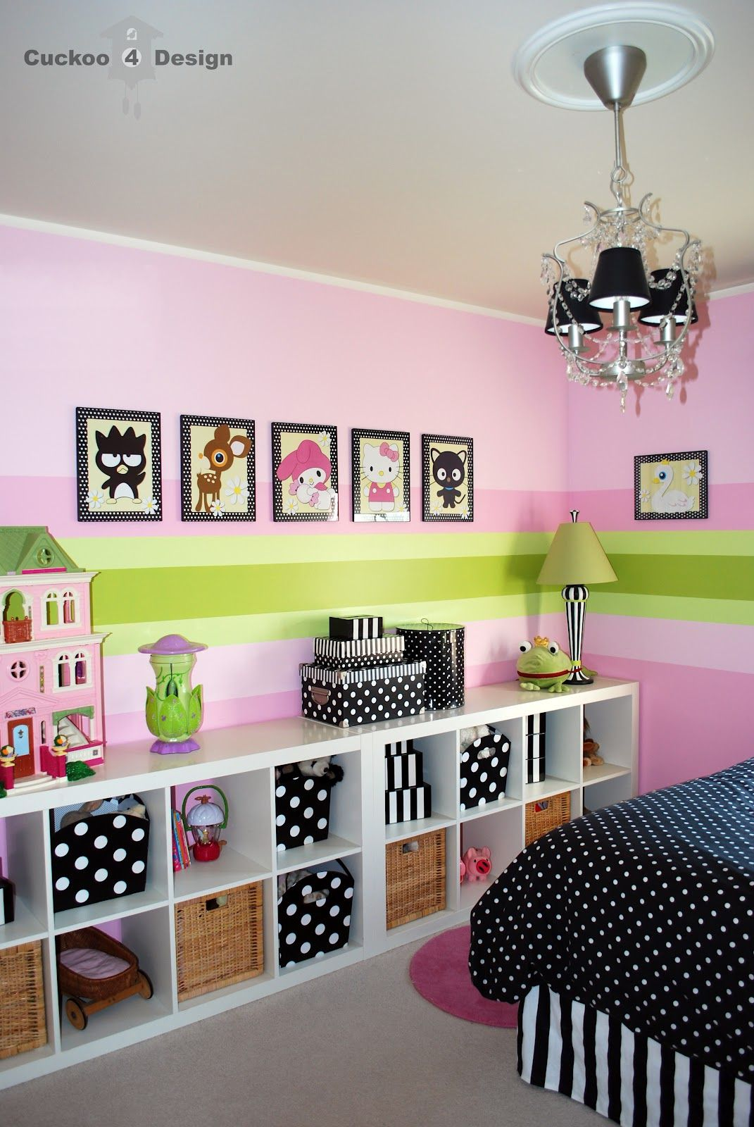 girls bedroom decor in black and pink - black/white polka dots and striped containers - expedit bookshelves