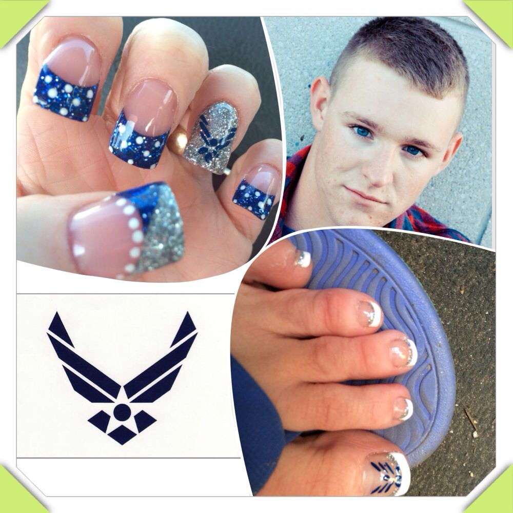 Air Force nails in honor of my son leaving for BMT next