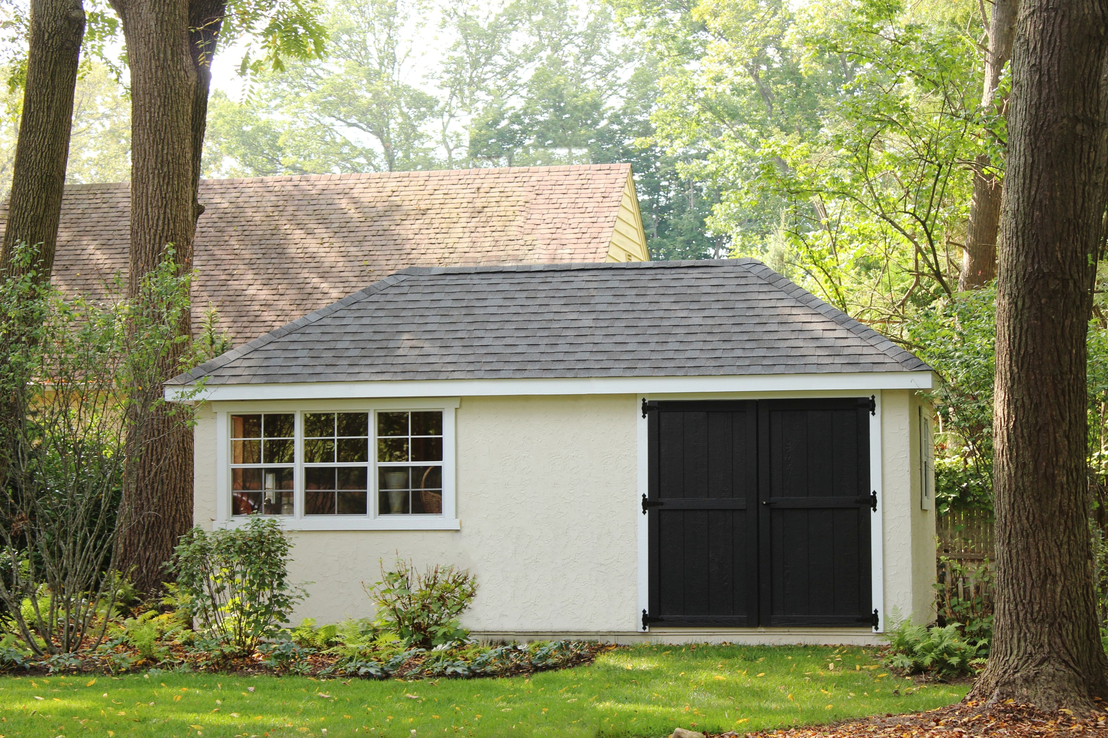 10 X20 Stucco Hip Roof Garden Shed Visit Our Website At Www Lappstructures Com For More Information Or To Place Shed Backyard Structures Historic Structures