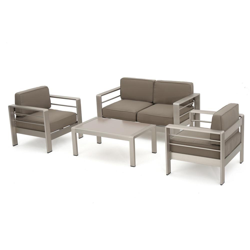 Noble House Cape Coral Sliver 4 Piece Aluminum Patio Conversation Set 5713 Patio Furniture Sets Furniture Patio Loveseat