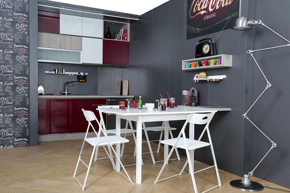 Une cuisine quip e petit budget pratique avec une table modulable d couvre - Table cuisine modulable ...