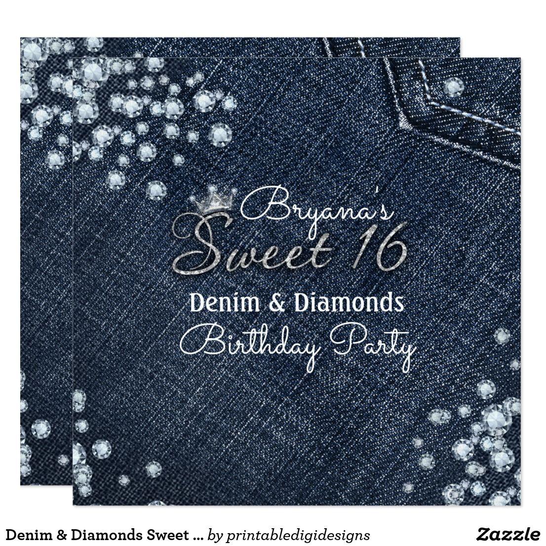 Denim & Diamonds Sweet 16 Crown Party Invitations Denim & Diamonds ...