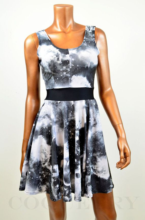Black & White Galaxy Print Skater Dress by CoquetryClothing, $49.99