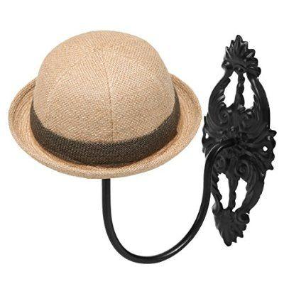 Decorative Vintage Style Black Metal Wall Mounted Entryway Hat Cap Wig Hanger Display Rack Wall Mounted Hat Rack Hat Rack Trendy Hat