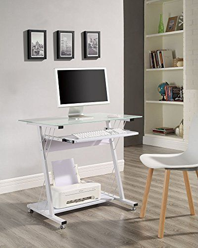 Computer Desk With Glass Top And Sliding Keyboard Shelf Small White Home Office Anderson Distribution Http Www Amaz White Computer Desk Furniture Metal Desks