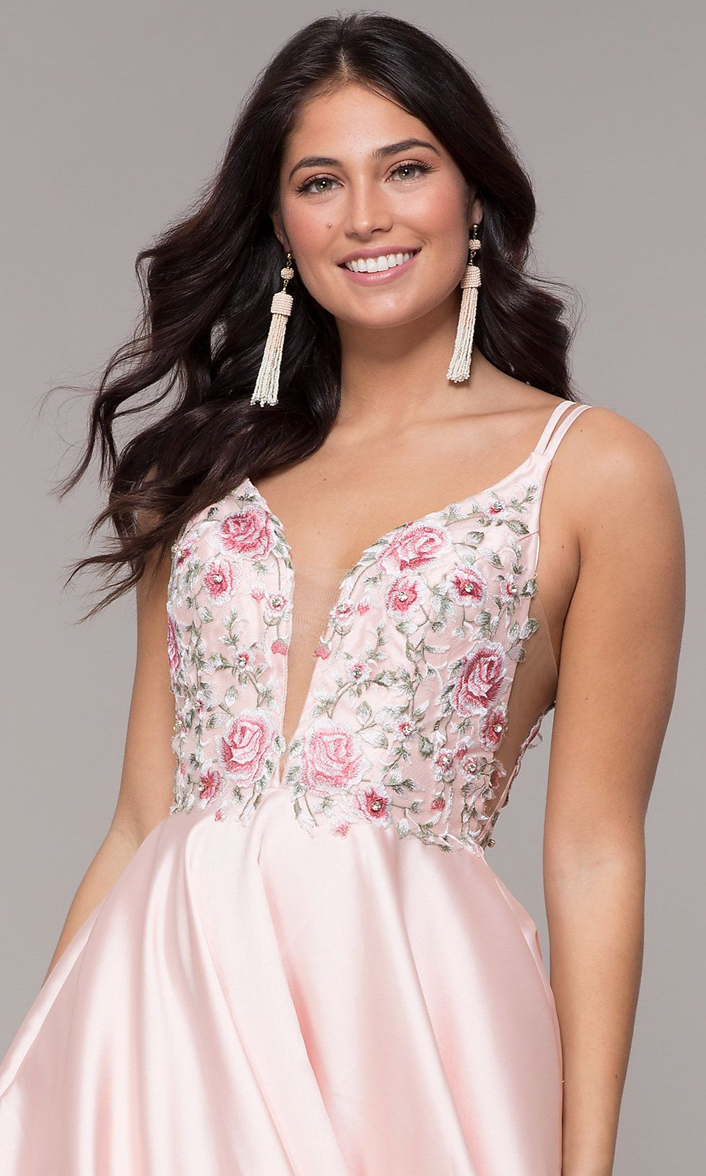 EmbroideredBodice Long ALine VNeck Prom Dress - Dresses, V neck prom dresses, Prom dresses, Pretty prom dresses, A line prom dresses, Plus size prom dresses - Look pretty as a princess wearing this embroideredbodice aline prom dress to prom 2020, pageant, or military ball  The bodice features lovely floral embroidery and an illusion deep vneckline, while the skirt on this long prom dress billows gracefully to floor length in a full aline shape  Thin double straps support the bodice, trace the shoulders, and spread across the open back of the formal dress for prom  For a beautiful and feminine look at an upcoming special occasion, wear this pretty embroideredbodice aline prom dress