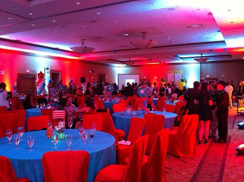 austin texas event blue red room wash uplighting chandeliers