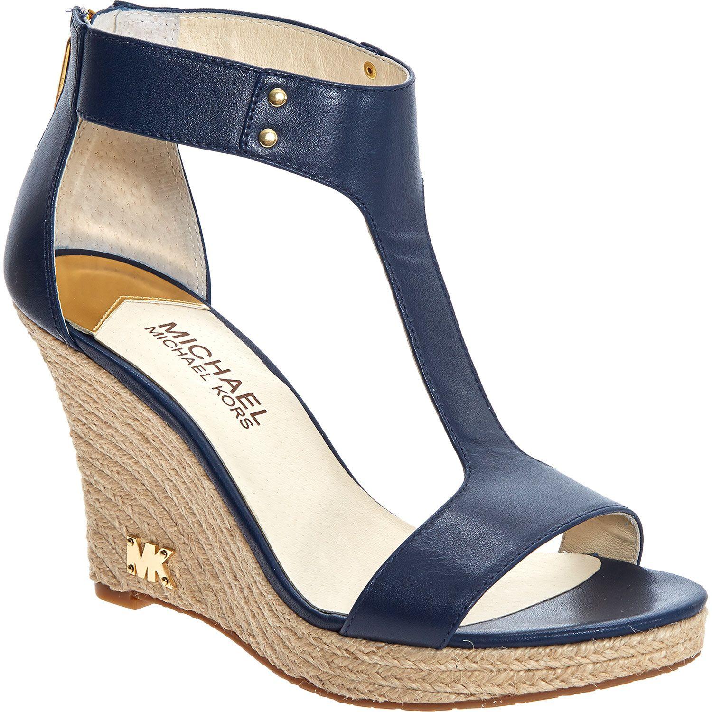 Michael Kors Navy Wedge Heeled Sandals